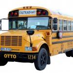 alter amerikanischer Schulbus von schräg vorne fotografiert