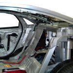Blick in den Audi A8 als Schnittmodel Rücksitzbank und Hutablage