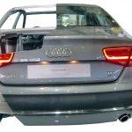 Blick auf das heck des Audi A8 Schnittmodelles von 2010