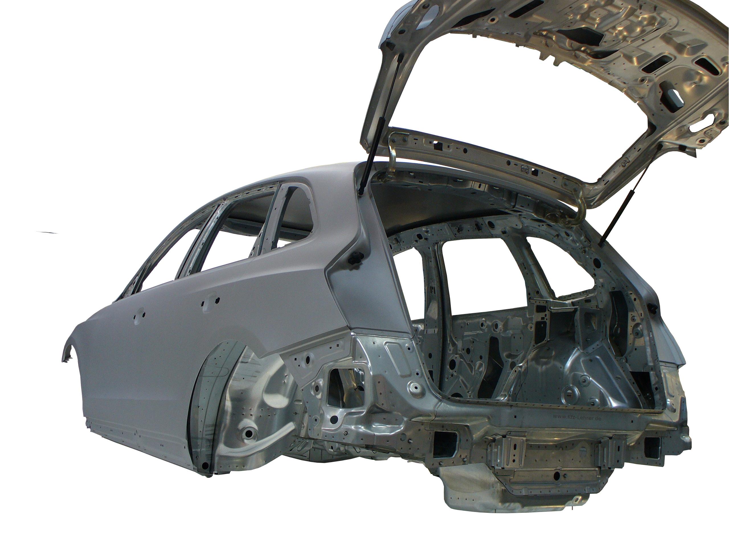 Blick auf die Rohkarosserie des Audi Q5 von 2012 von hinten links