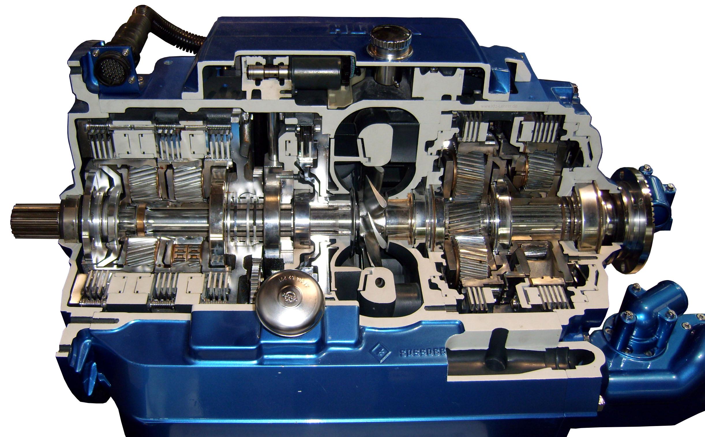 Schnittmodell eines Automatikgetriebes für einen Linienbus