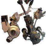 Blick auf Teile des BMW 4-Zylinder Diesels von 2010