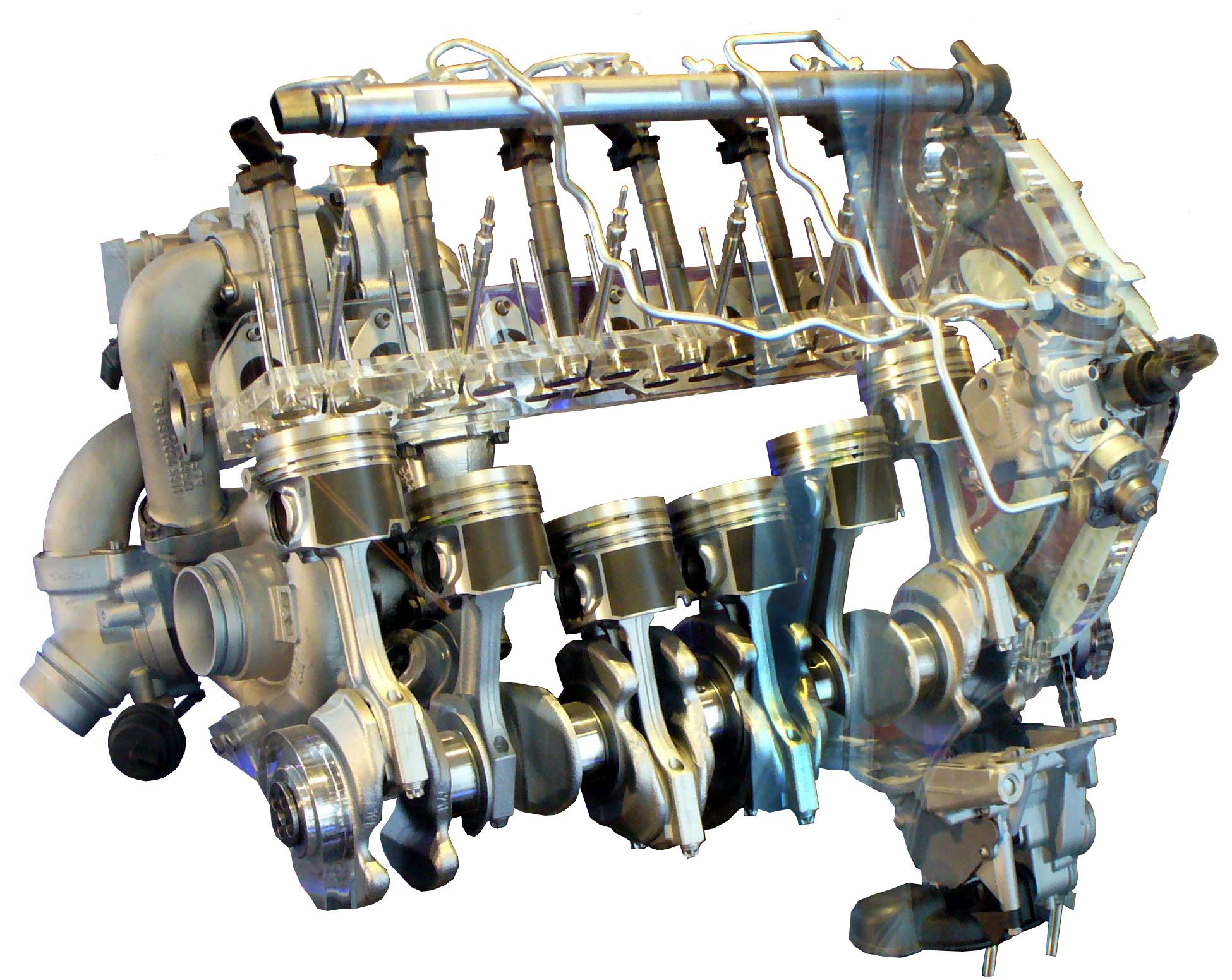Blick auf einzelne Bauteile eines 6-Zylinder BMW Dieselmotors von 2010