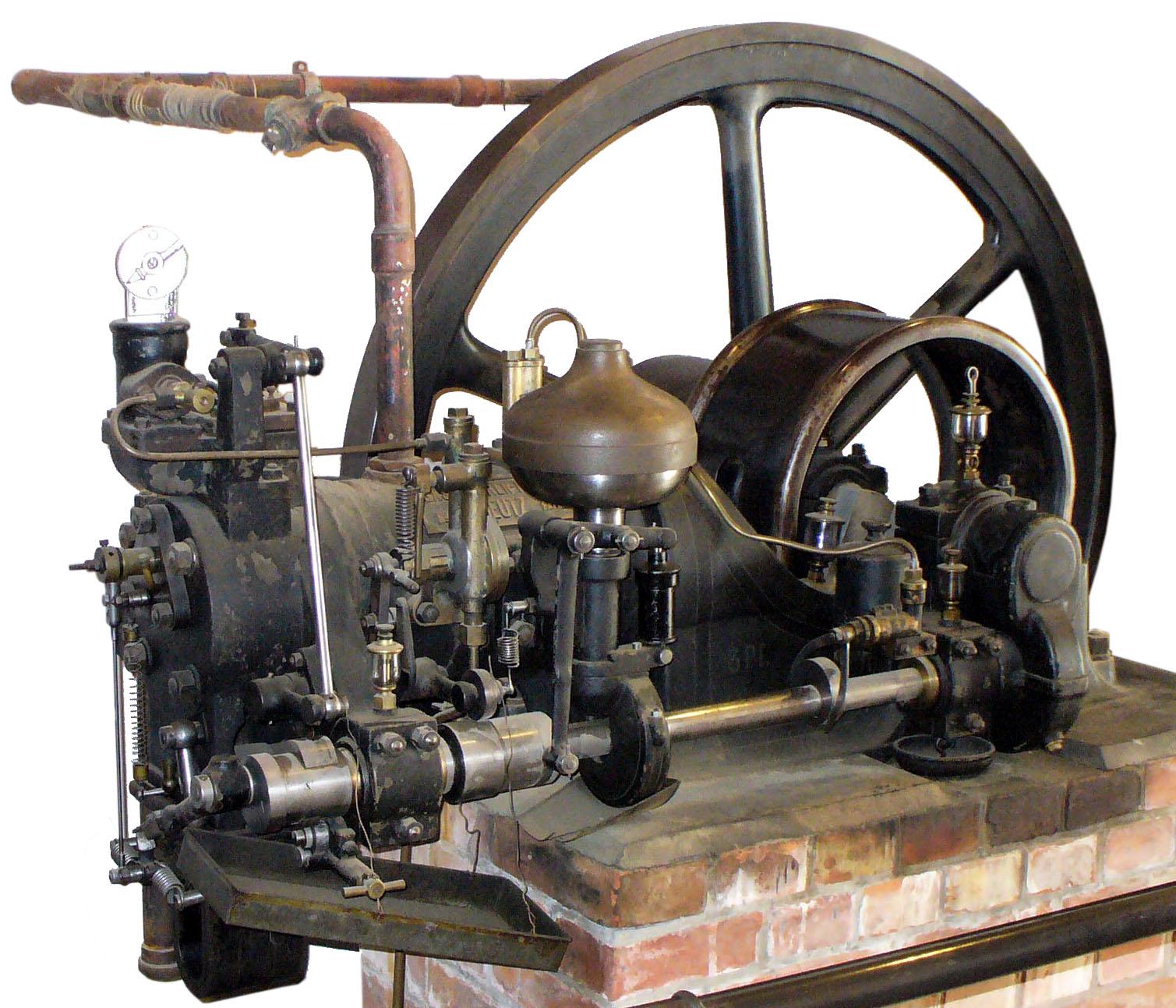 Blick auf einen liegenden Deutz Ottomotor von 1902 als Stationärmotor