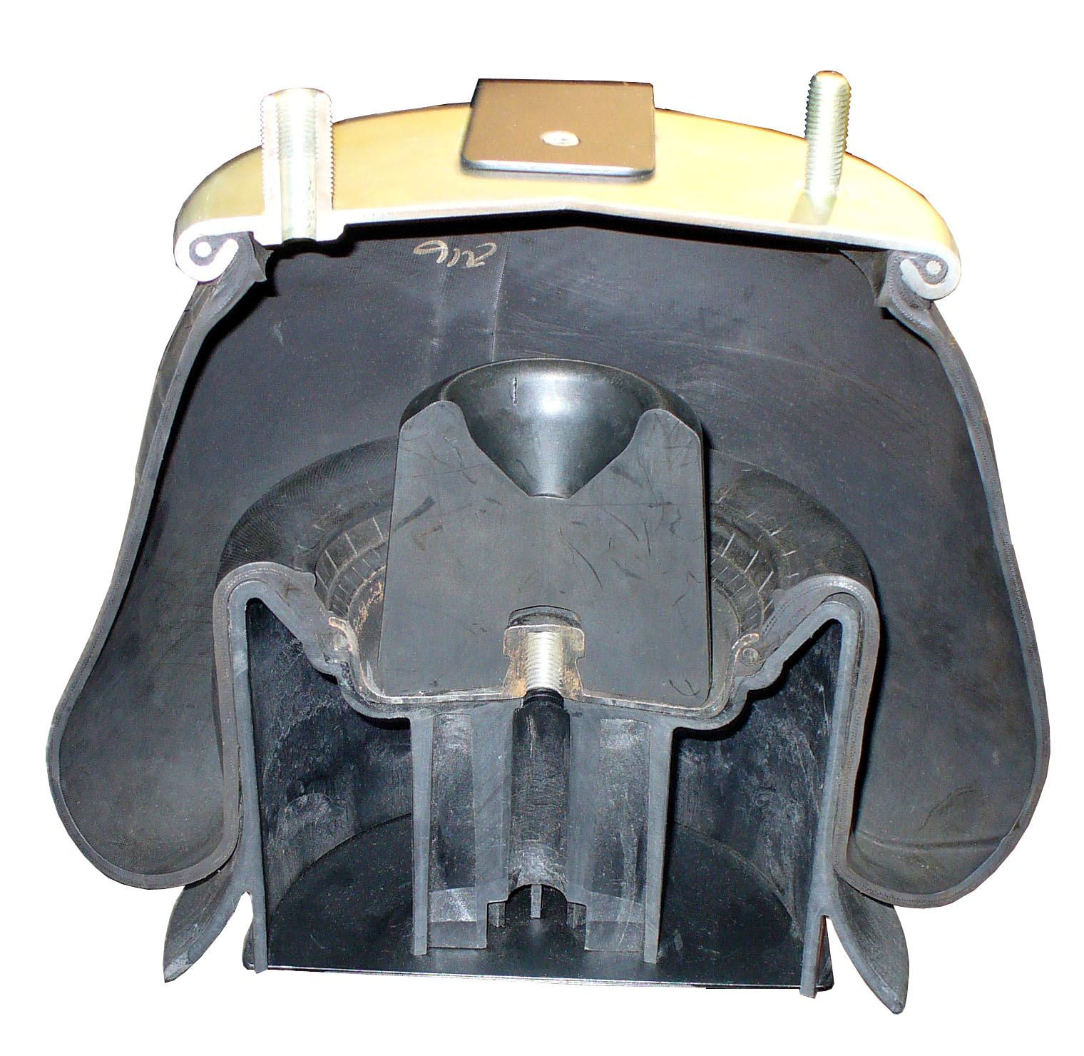 Blick in eine mittig aufgeschnittene Luftfeder für einen Lkw, genannt Gummibalg