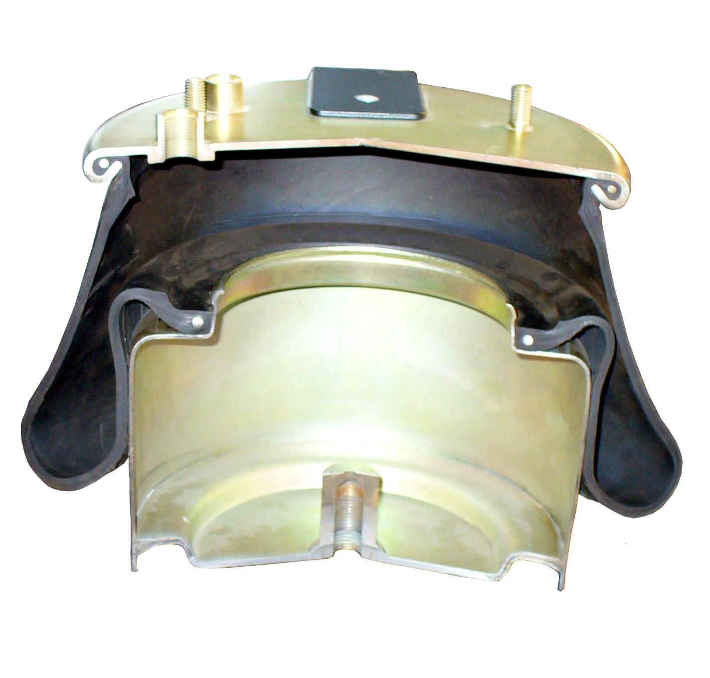 Blick in das Schnittmodell eines Gummibalges einer Lkw-Luftfederung