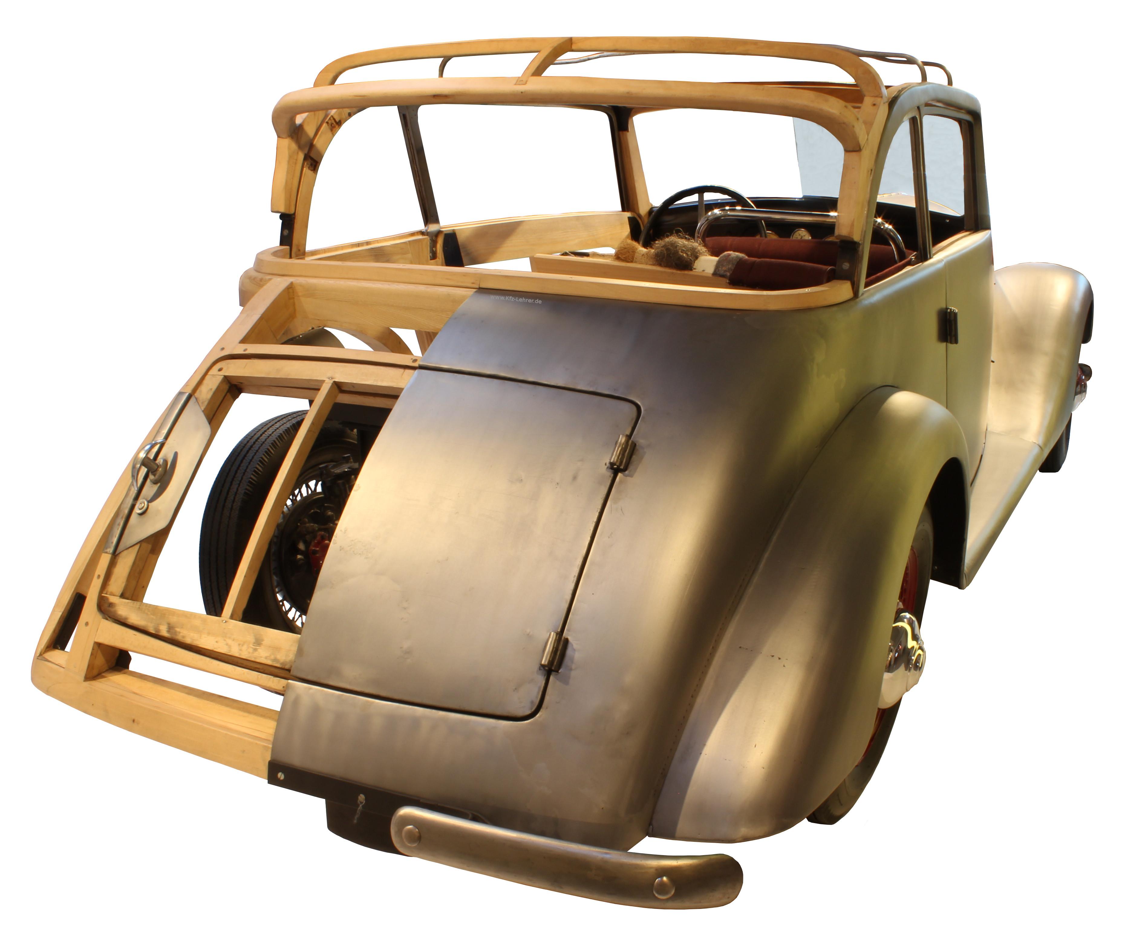 Blick von hinten auf das Schnittmodell des Hansa 1700 von 1934