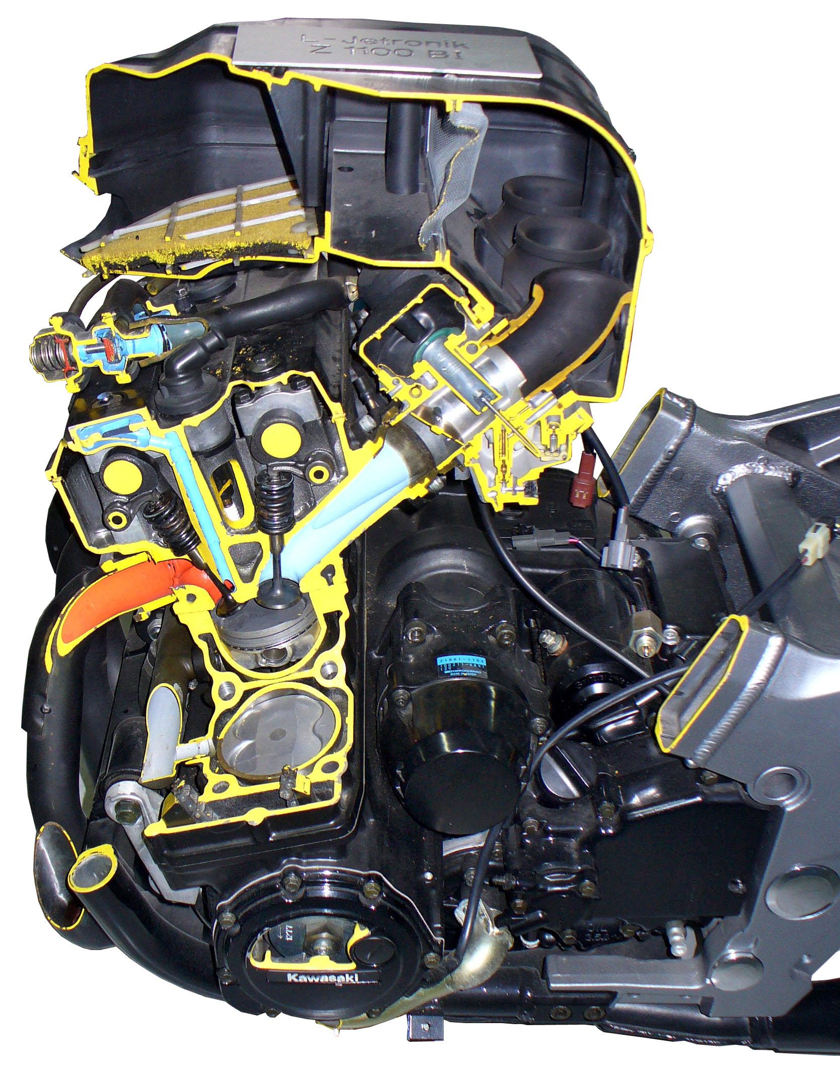 Blick auf das Schnittmodell des Motorradmotors einer Kawasaki 1100 BI