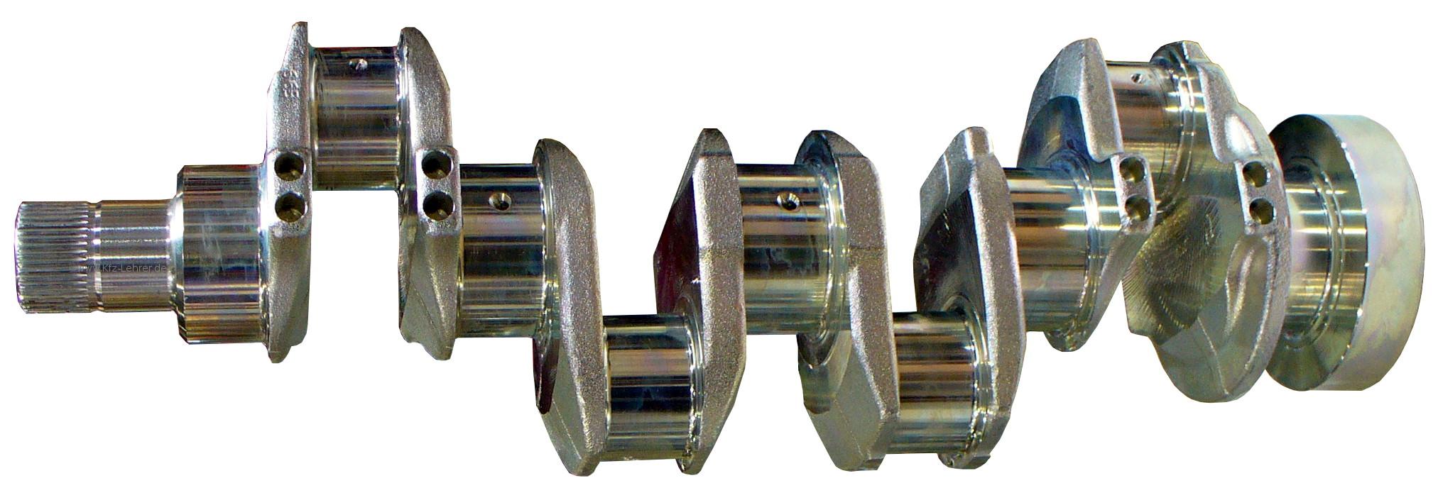 Sie sehen eine klassische gegossene Vier-Zylinder-Kurbelwelle