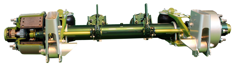 Blick auf ein Schnittmodell einer grün lackierten Lkw-Achse mit Trommelbremsen