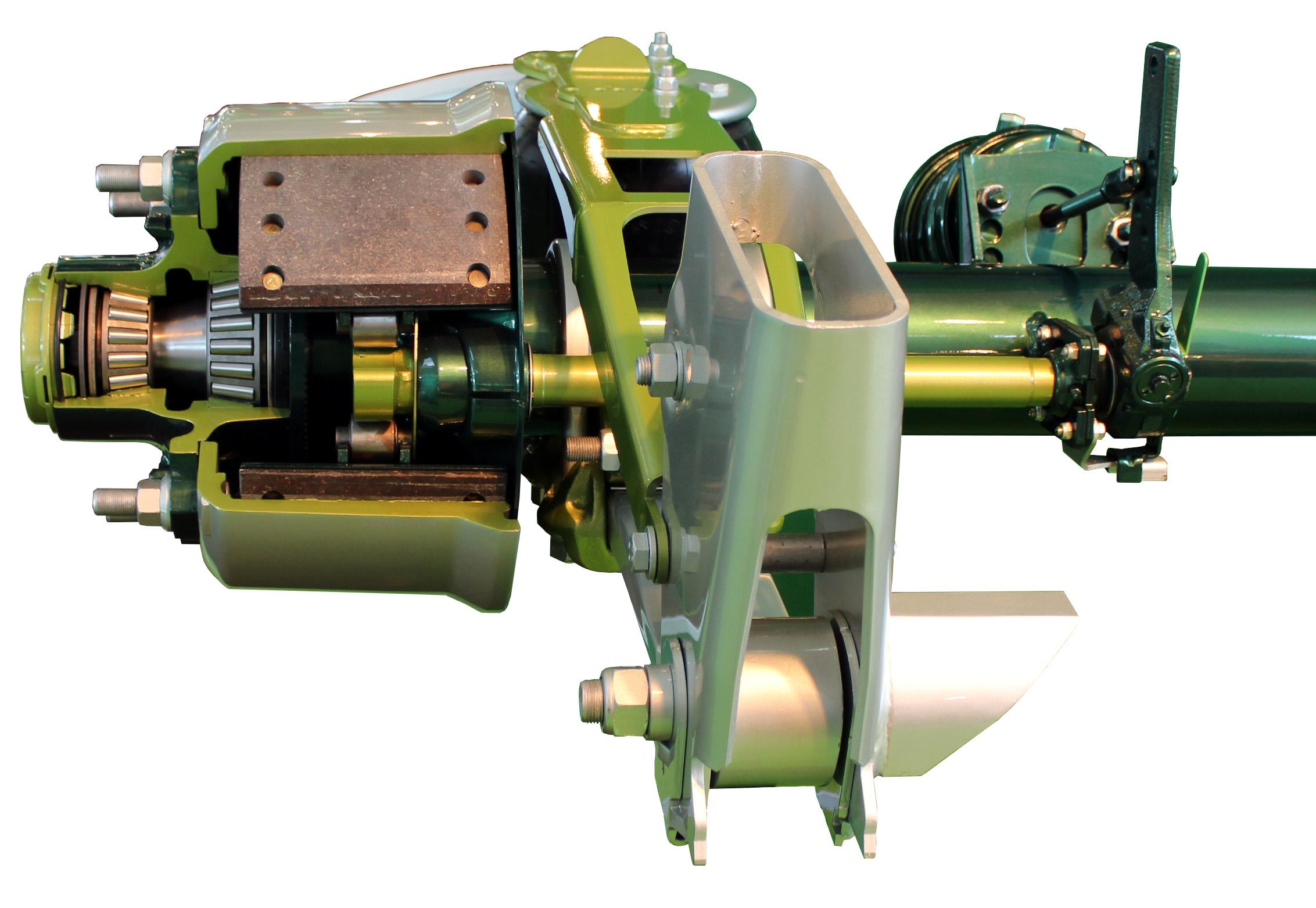 Blick in das Schnittmodell einer Lkw-Trommelbremse