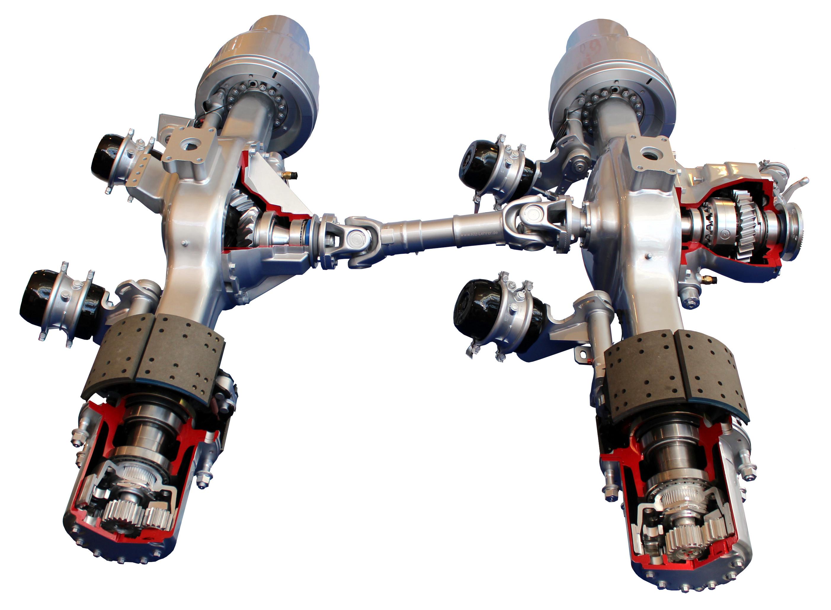 Blick auf zwei miteinander verbundenen angetriebenen Lkw-Achsen im Schnitt
