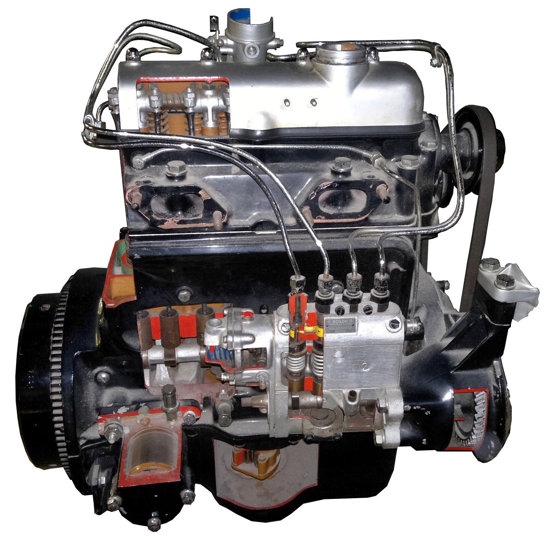 Blick auf das Schnittmodell des Mercedes Benz Pkw-Dieselmotors 170D mit Blick in die aufgeschnittene Einspritzpumpe