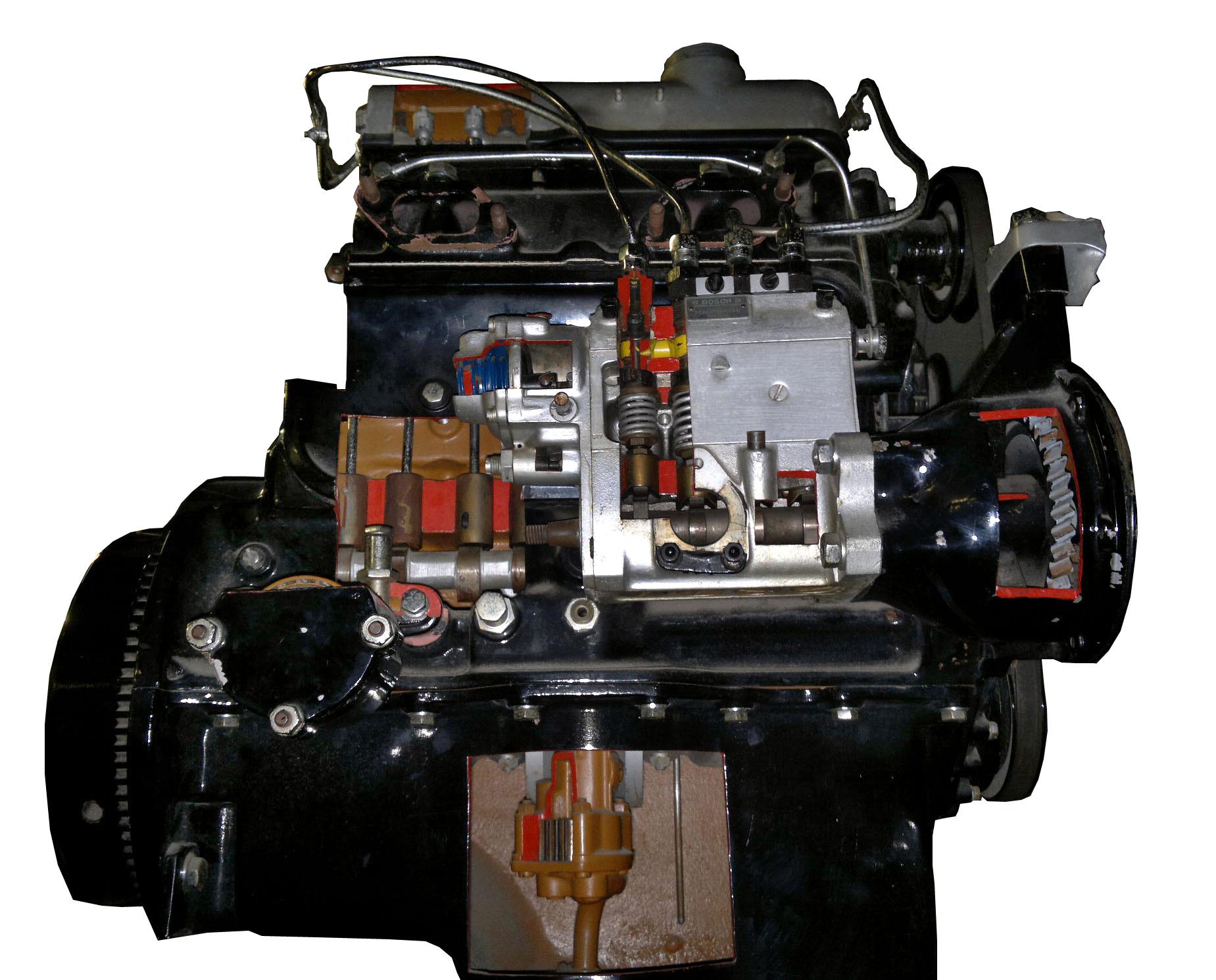 Blick auf das Schnittmodell eines MB 170 D mit dem Detail der Ölförderpumpe
