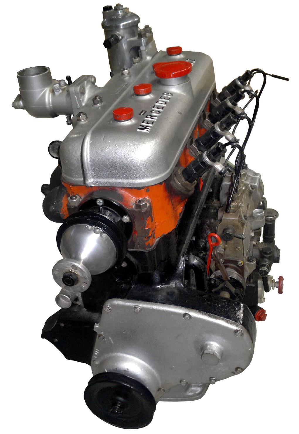Abgebildet ist der erste Dieselmotor für einen Pkw der Welt: der 260D von Mercedes Benz