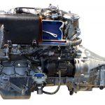 Blick auf das Schnittmodell eines Mercedes Benz 5-Zylindermotors von 1990