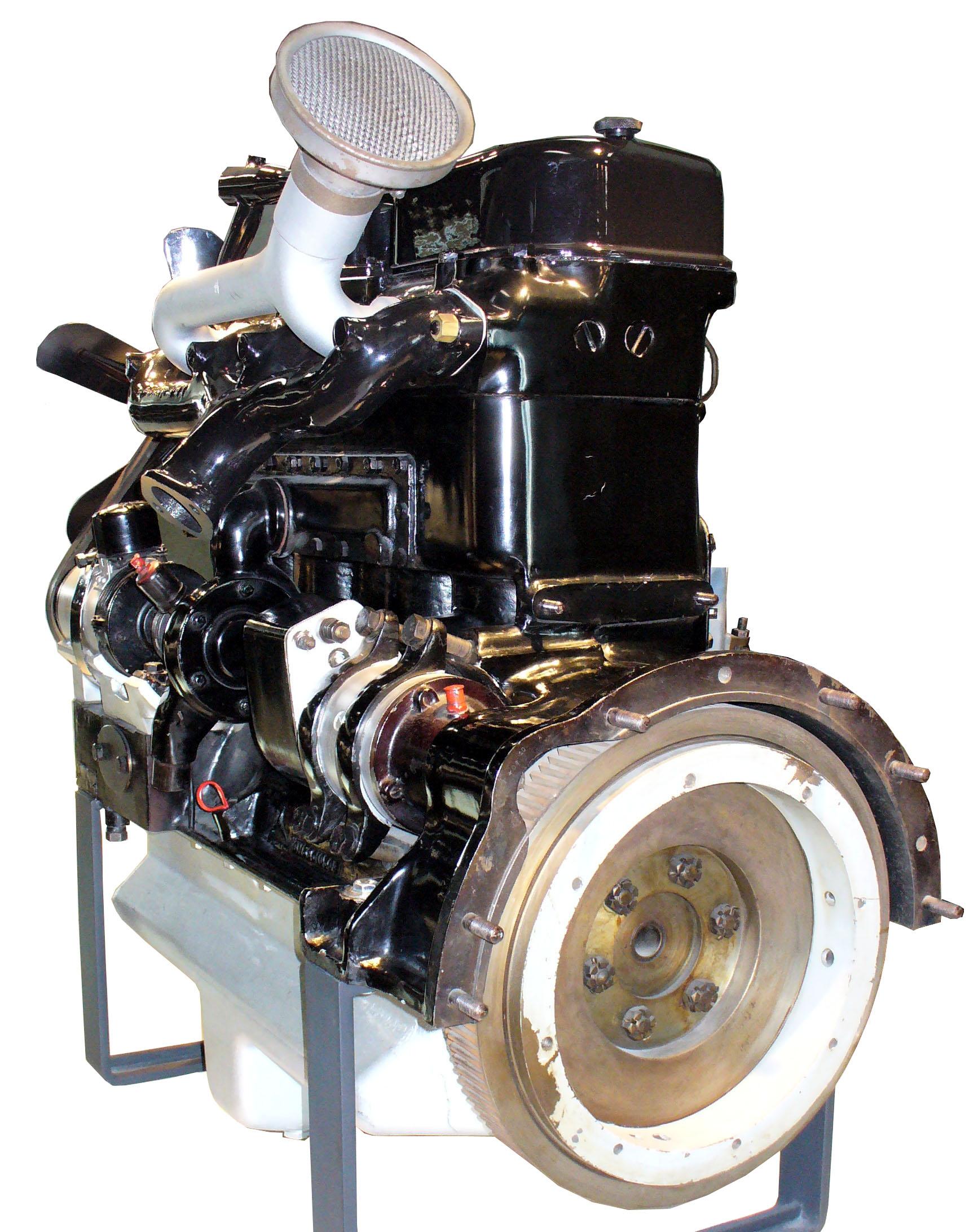 Blick auf die Schwungscheibe des Schnittmodelles eines MB Dieselmotors OM59 von 1932
