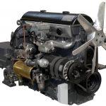 Blick auf einen Maybachmotor mit angeflanschtem Getriebe von 1935
