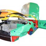 Das Foto zeigt die Rohbaukarosserie des Mercedes SL von 2012 von hinten