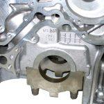 Blick auf die Kurbelwellenlagerung an einem Aluminium Motorblockgehäuse