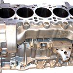 Blick auf den Motorblock eines Audi 5-Zylindermotors