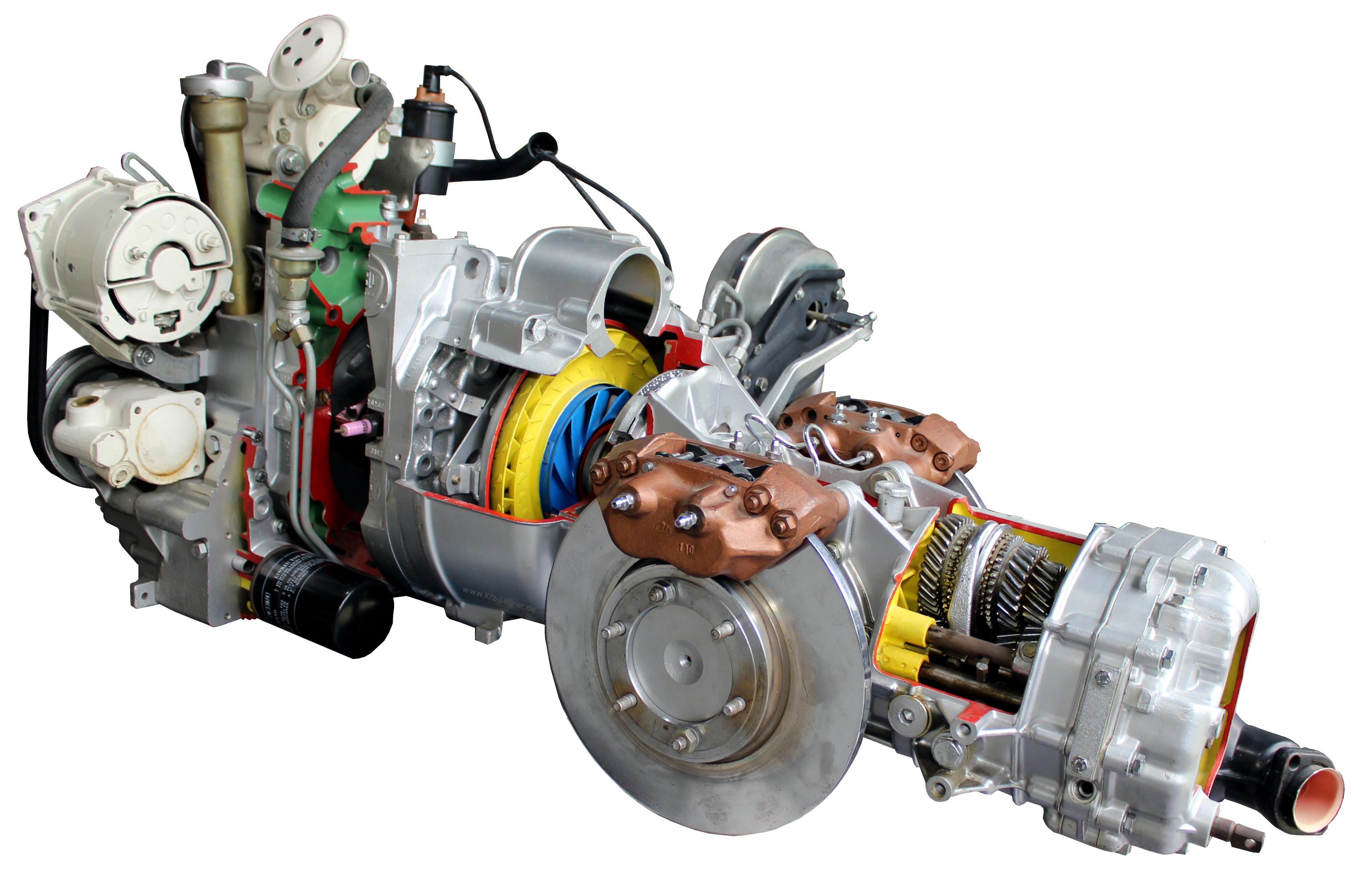 Blick auf das Schnittmodell eines Wankelmotors aus dem NSU RO 80 von 1971