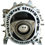 Blick in das Innere eines Wankelmotors: sichtbar wird der Rotationskolben und seine Umgebung