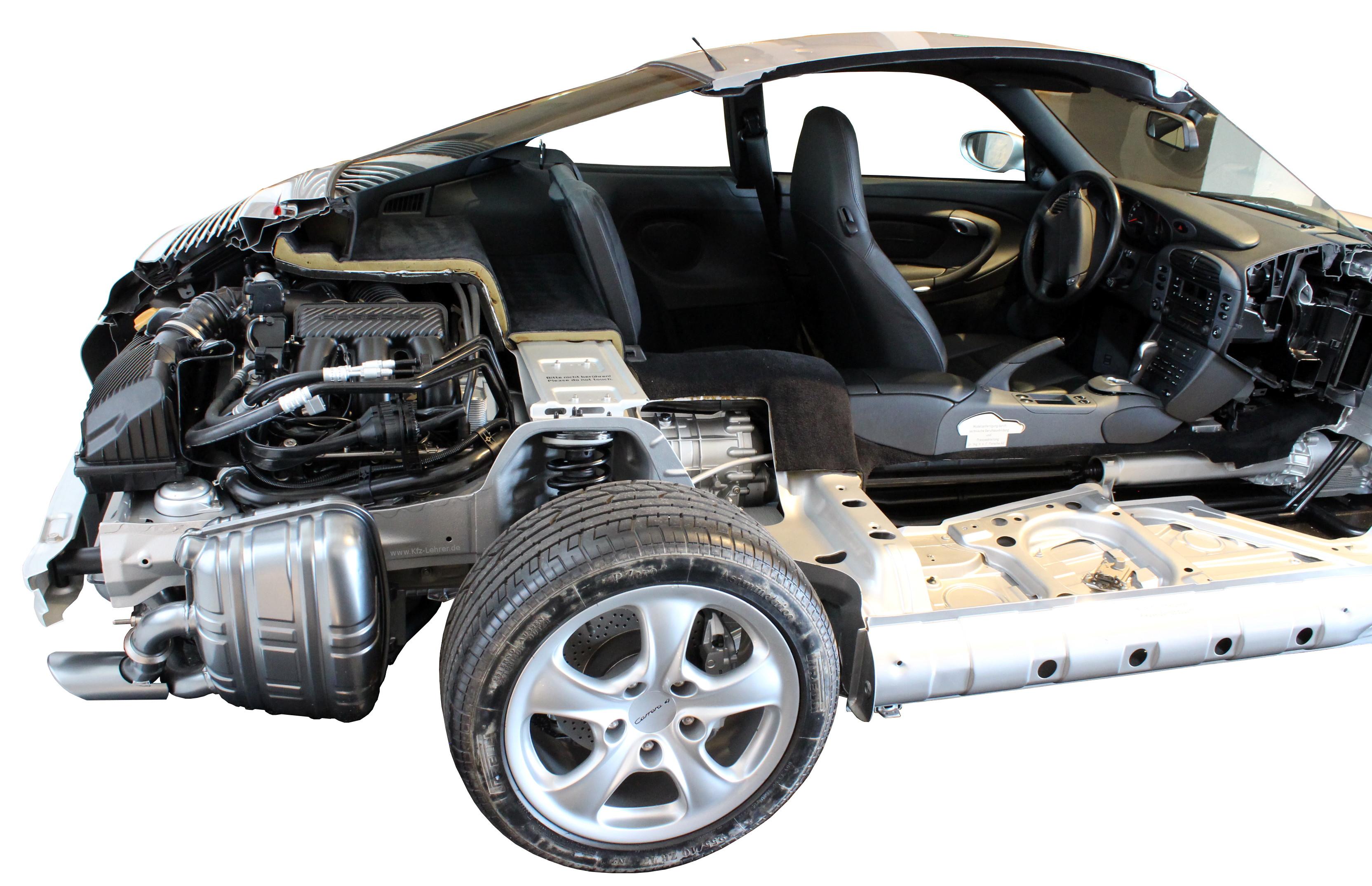 Zu sehen ist das Schnittmodell eines Porsche 911 Carrera 4 von 1998