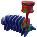 Blick auf eine im 3-D-Druckverfahren hergestellte Kurbelwelle mit Pleuel und Kolben