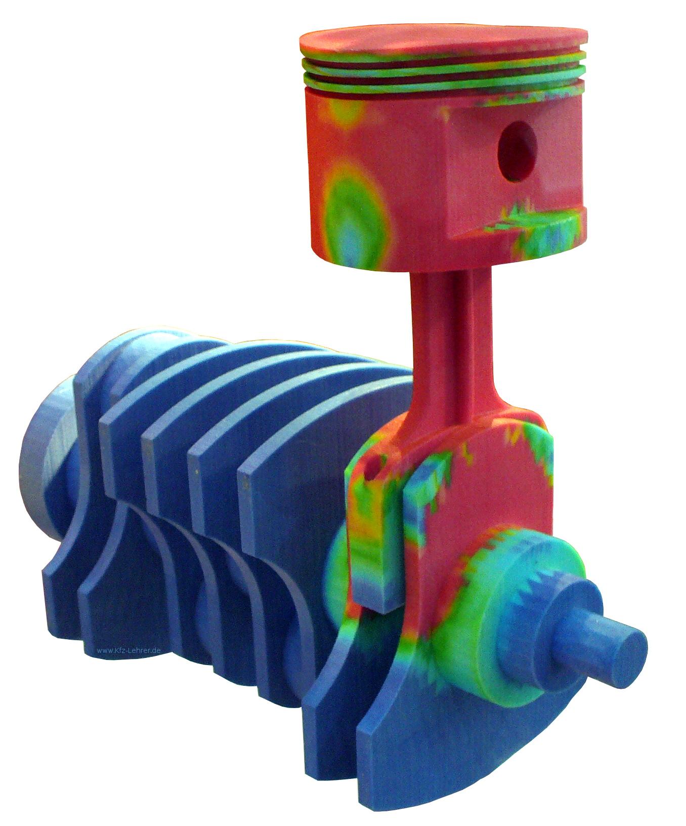 Blick auf eine Kurbelwelle, ein Pleuel und einen Kolben, die im 3-D-Druckverfahren hergestellt wurden