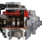 Blick auf das Schnittmodll einer Diesel Verteilereinspritzpumpe von Bosch