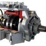 Blick auf das Schnittmodell einer Bosch Verteilereinspritzpumpe, auch Radialkolbenpumpe genannt