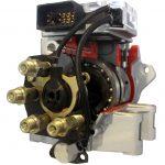 Blick auf das Schnittmodell einer Radialkolbenpumpe für Diesel Motoren, auch Verteilereinspritzpumpe genannt