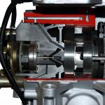 Blick in das Schnittmodell einer Bosch Verteilereinspritzpumpe