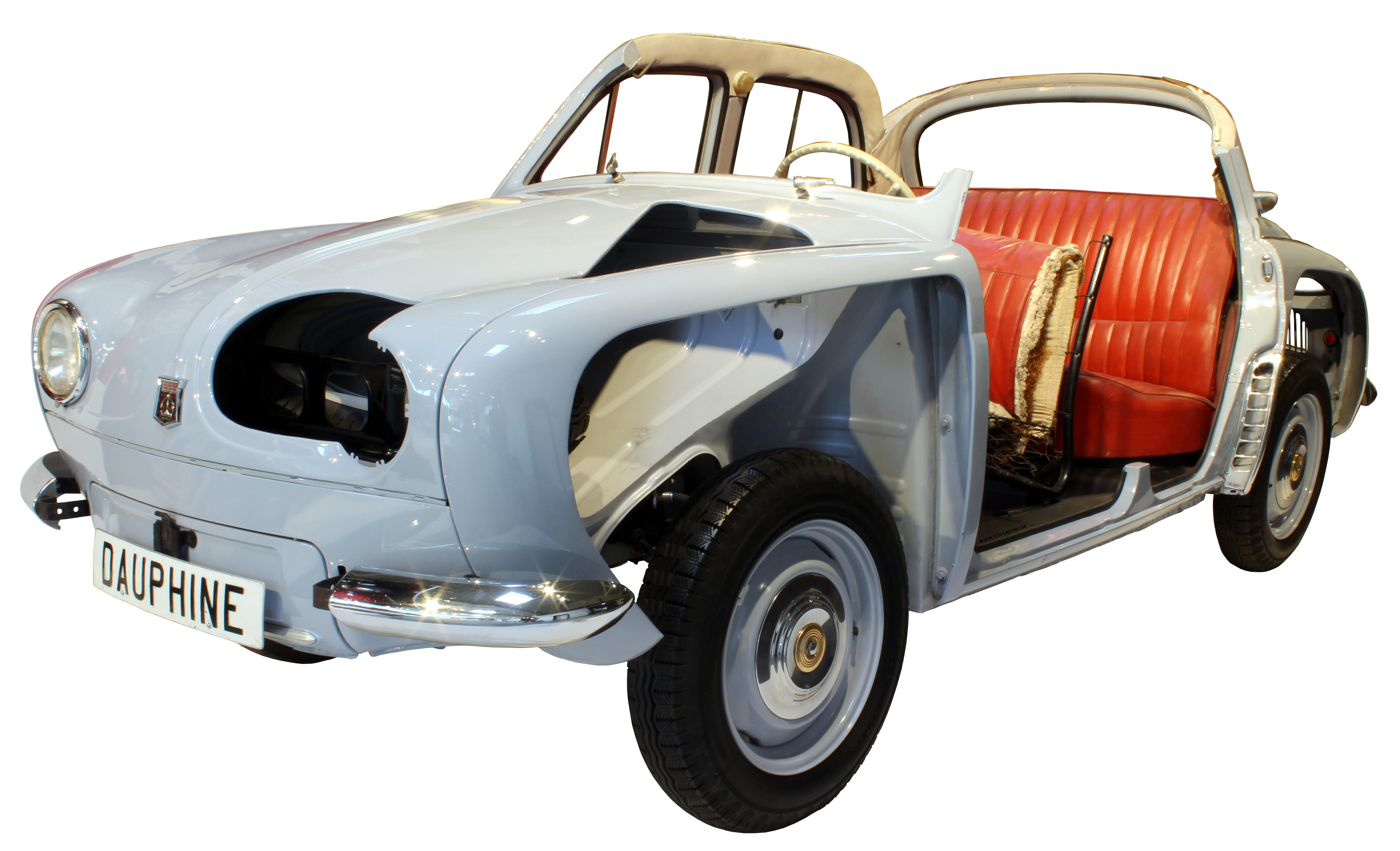 Blick von schräg vorne auf das Schnittmodell der Renault Dauphine