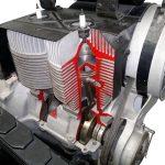 Blick auf das Schnittmodell eines Trabantmotors von 1958